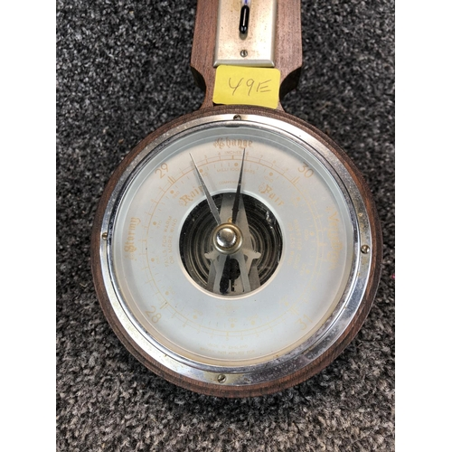 9 - Wall mountable Wooden framed barometer and thermometer...