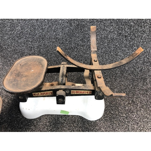 34 - W & T. AVERY LTD. Set of counterbalance shop scales with weights 44cm wide 38cm deep 26cm tall...
