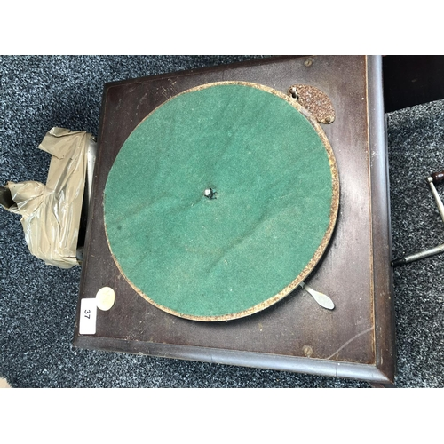 37 - Vintage Gramophone/ record player missing needle arm....