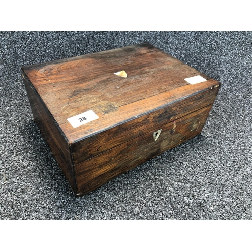 28 - Small vintage storage chest with lock (key works with lock) 30cm wide 22cm deep 14cm tall...