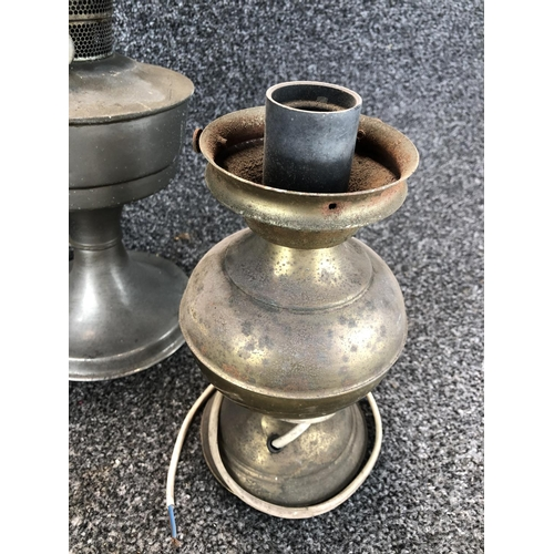 43 - Box containing vintage oil lamps, oil burning wall sconce and electric lamp...