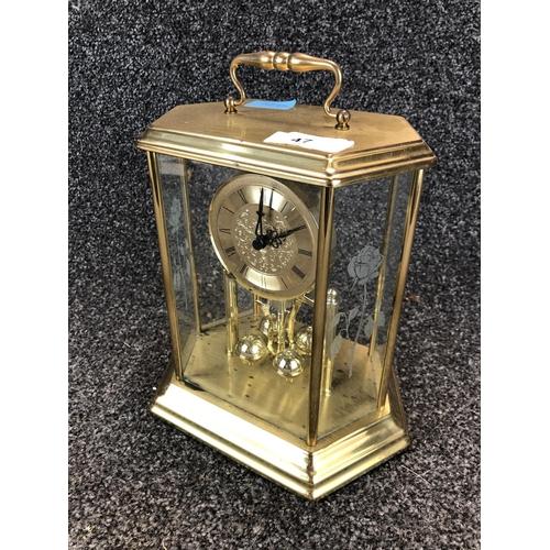 47 - Actim Quartz glass framed ornate mantle clock made in west Germany...