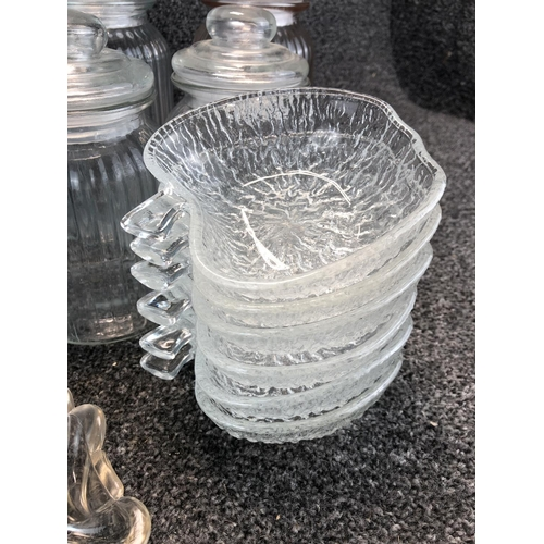50 - Large box of assorted glassware to include large glass jars, jelly moulds and glass bowl etc....