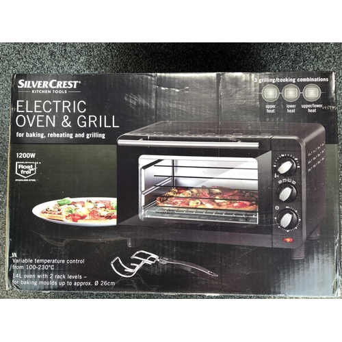 53 - Silvercrest 1200w electric grill and oven. Still in factory sealed box...