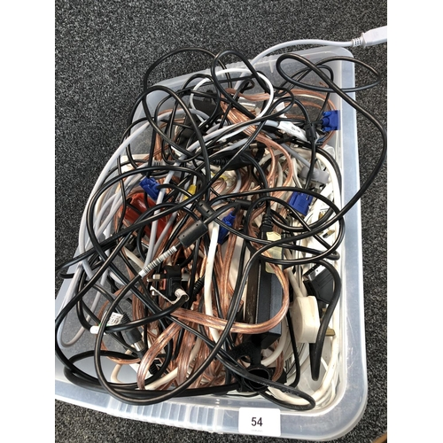 54 - Large box of assorted electrical and audio cables...