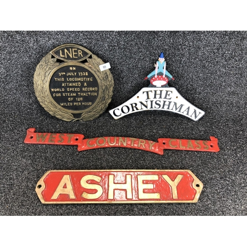 55 - Set of 4 railway signs set of 3 reproduction signs,