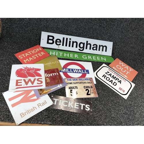 56 - Box of reproduction railway signs of mixed sizes...