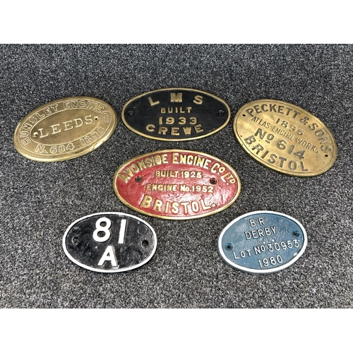 57 - Box of brass and cast iron railway signs...