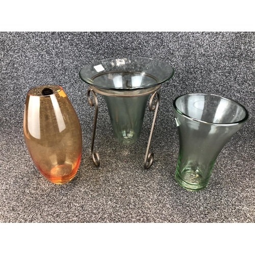 1 - 3 Assorted glass vases tallest 31cm T...