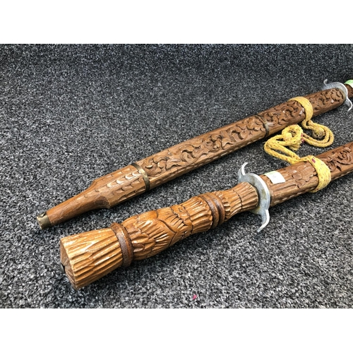 4 - Pair of carved wooden scabbard display swords 92cm Tip to base
