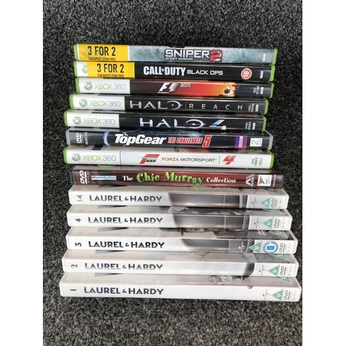 42 - Box of Dvd's Inc Laurel & Hardy and Xbox360 Games...