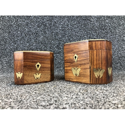 7 - 2 Wood and brass trinket boxes...