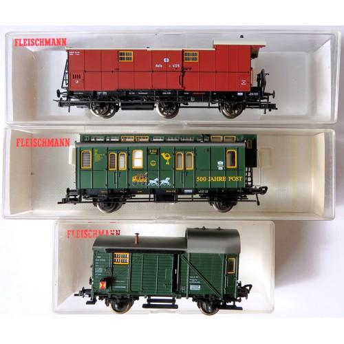 93 - FLEISCHMANN HO gauge Continental outline Rolling Stock comprising: 5894 KPEV 3-Axle Baggage Coach br...