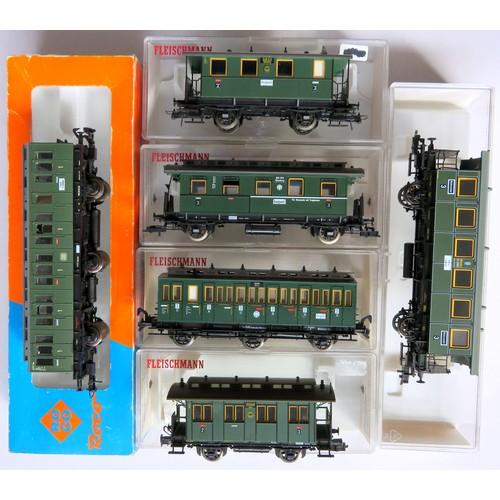 94 - FELISCHMANN / ROCO HO gauge DB green Coaches comprising: 1 x Roco 6-wheel with clerestory roof, 1 x ...