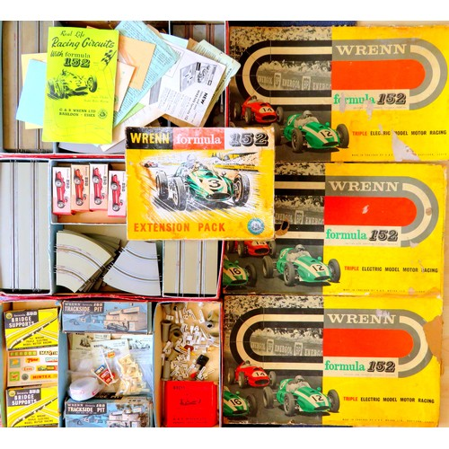 133 - WRENN Formula 152 Slot Car Racing 1/52 scale (circa 1960s) comprising: 6 x incomplete Cars in Boxes,...