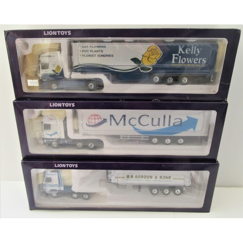 """205 - LION TOYS 1:50TH Modern Trucks to include LM2150 """"Kelly Flowers"""", DAF """"McCulla"""" and Volvo """"G.S.Gordo..."""