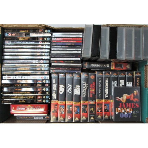 226 - JAMES BOND DVD's/VHS Video/CD's to include 19 DVD, 21 VHS Video, 17 CD's and 3 audio books on casset...