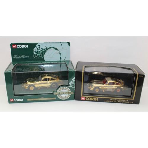 219 - CORGI James Bond Aston Martin DB5 96656 Gold Colour Plated Special Edition and 04202 'Goldfinger' 35...