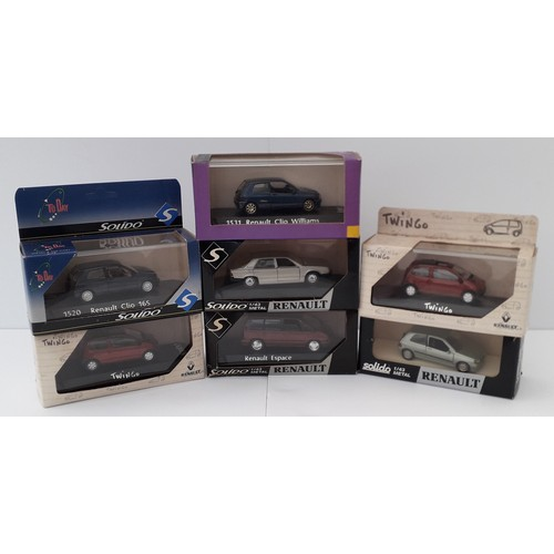 285 - SOLIDO Renault car models. 1:43rd scale to include 1531 Cleo-Williams. Mint in Good to Excellent Box...