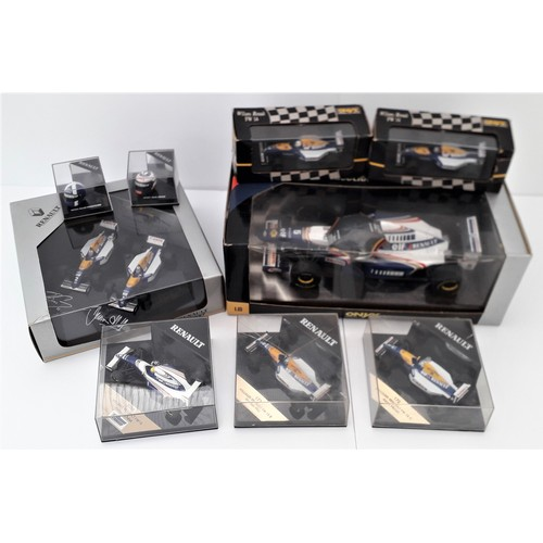 287 - ONYX Renault Formula 1 models and helmets to include 1:18TH and 1:43rd scale FW18 'Damon Hill'. Mint...