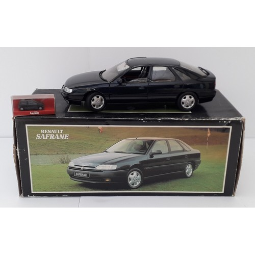 288 - SOLIDO Renault Safrane 1:18TH scale plus Herpa Renault Twingo 1:87TH scale. Mint in Good to Excellen...