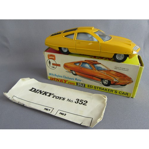 DINKY TOYS 352 Gerry Anderson's UFO Shado Ed Straker's Car. Yellow Body with pale grey interior. Near Mint in a Good Plus Box complete with leaflet.