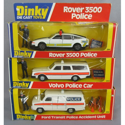 237 - DINKY TOYS 243 Volvo Police Car, 284 Rover 3500 Police Car and 269 Ford Transit Accident Unit. Near ...