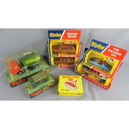238 - DINKY TOYS 2x 192 Range Rover in bronze (grey & white interiors), 226 Ferrari 312 B2 Racing Car, 208...