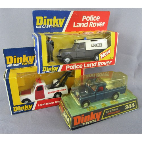 239 - DINKY TOYS 277 Police Land Rover, 442 Land Rover Breakdown Vehicle (red interior) and 344 Land Rover...