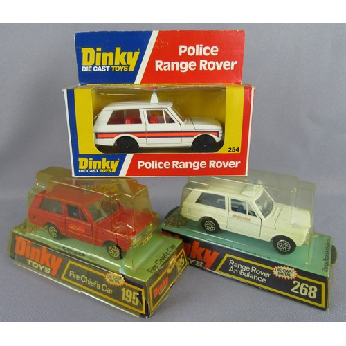 240 - DINKY TOYS 254 Police Range Rover (red interior), 195 Range Rover 'Fire Chief' (dark blue interior) ...