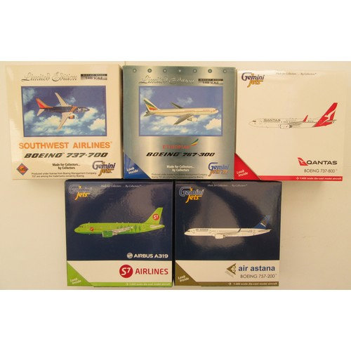 "11 - GEMINI JETS 1:400TH scale Aircraft to include Airbus A319 ""S7 Airlines"", Boeing 757-200 ""Air Astana""..."