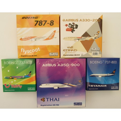 """15 - LIMITED EDITION 1:400TH scale Aircraft to include Boeing 787-8 """"Flyscoot"""", Airbus A330-200 """"Etihad A..."""