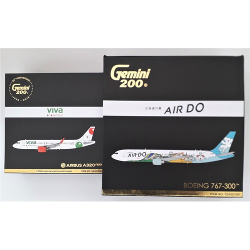 """21 - GEMINI '200' AIRCARFT.1:200TH scale. Boeing 767-300 """"Air-Do"""" and Airbus 320neo """"Viva Aerobus"""". Mint ..."""