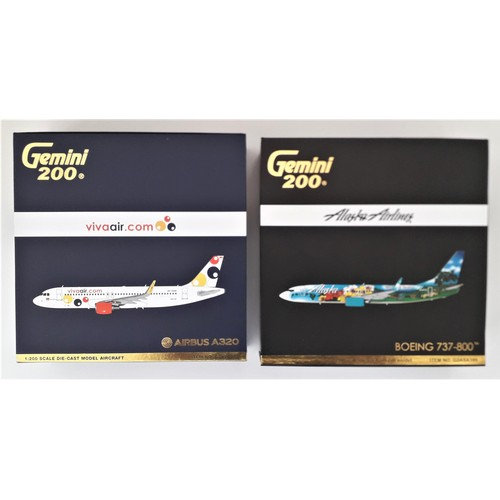 "23 - GEMINI '200' AIRCRAFT 1:200th scale. Airbus A320 ""Viva Air"" and Boeing 737-800 ""Alaska Airlines2. Mi..."