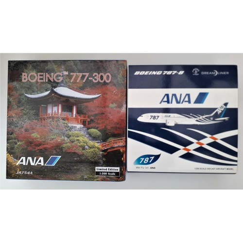 "25 - JC WINGS Limited Edition 1:200th scale. Boeing 787-7 Dreamliner ""ANA"" and Boeing 777-300 ""ANA"". Mint..."