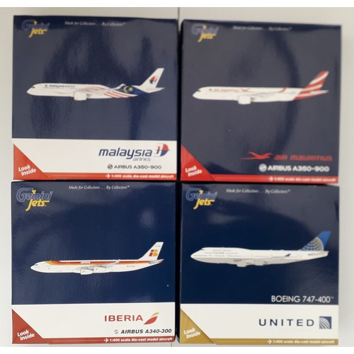 """28 - GEMINI JETS 1:400th scale Aircraft to include Airbus A350-900 """"Malaysia Airlines"""", Airbus A340-300 """"..."""