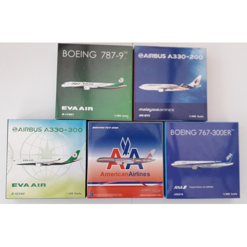 "40 - JC Wings 1:400th scale Aircraft to include Airbus A330-300 ""Eva Air"", Boeing 767-300 ER ""ANA"", Boein..."