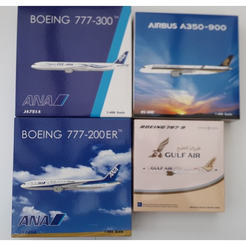 "42 - JC WINGS 1:400th scale Aircraft to include Boeing 777-300 ""ANA"", Boeing 777-200er ""ANA"", Airbus A350..."
