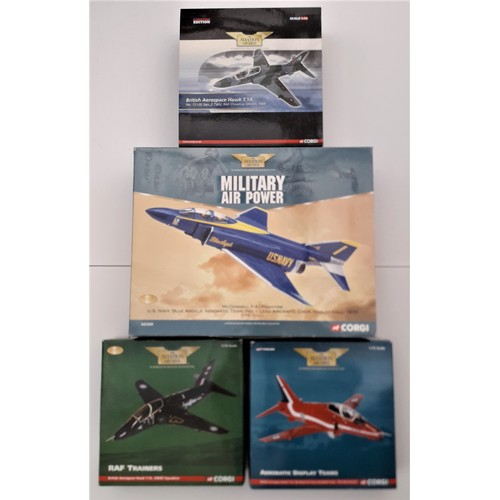 289 - CORGI AVIATION ARCHIVE 1:72 scale to include Mcdonnell F-4J Phantom and 3 British Aerospace Hawk T1A...