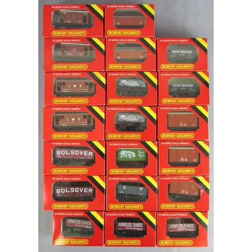 80 - HORNBY 00 gauge Goods Wagons comprising: Group of 20 x assorted to include Brake Van, 'Bolsover' Min...