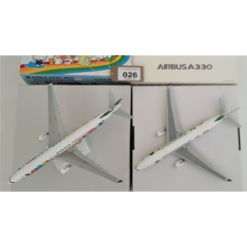 "26 - JC WINGS 1:200th scale Aircraft. Airbus A380 ""Eva Air"" (Bad Badtz Maru) and Airbus A330-300 ""Eva Air..."