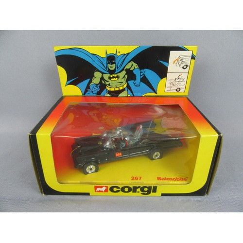 CORGI TOYS 267 BATMOBILE in harder to find late issue box with header card, complete with yellow missiles on sprue (one loose). Near Mint to Mint in a Near Mint Box.