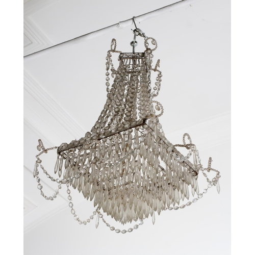 3 - AN EARLY 20TH CENTURY BASKET CHANDELIER of square outline, hung with ropes of prismatic beads above ...