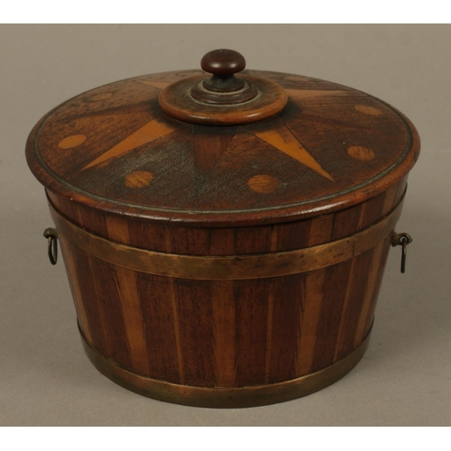42 - A LATE 19TH CENTURY/EARLY 20TH CENTURY COOPERED TREEN LIDDED VESSEL, feathered inlaid stays and two ...