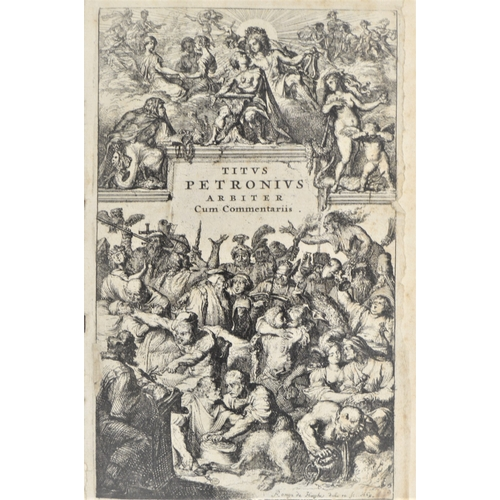 13 - Petronius.- Titus Petronius, Satyricon…, additional engraved title, contemporary ink ownership inscr...