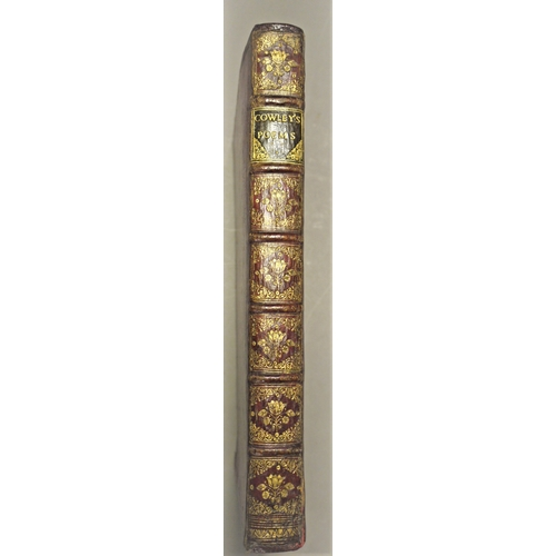 37 - Binding.- Cowley (Abraham), The Works, engraved portrait frontispiece, contemporary ink signature of...