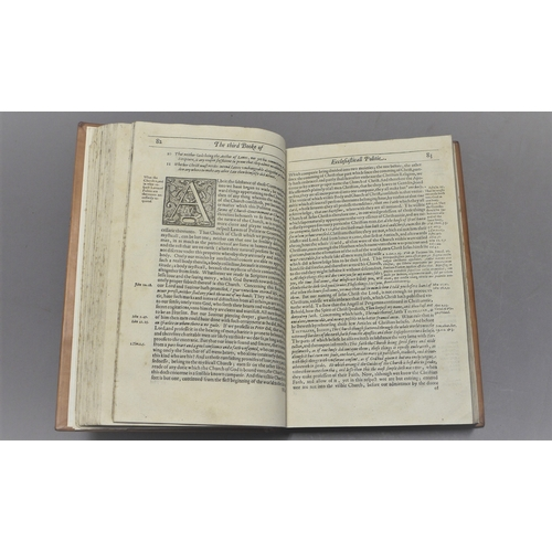 54 - Binding.- Hooker (Richard), Of the Lawes of Ecclesiastical Politie, engraved title, repairs to edges...