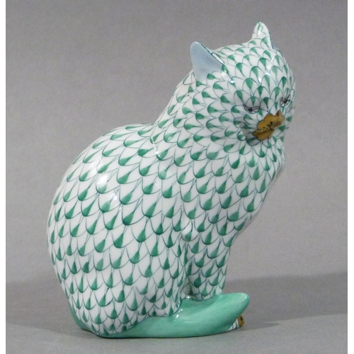 12 - A Herend cat painted in green, marked to underside, 12cm...