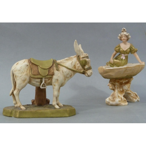 29 - A Royal Dux Bohemia figure of a donkey together with a shell dish surmounted by a female raised on a...