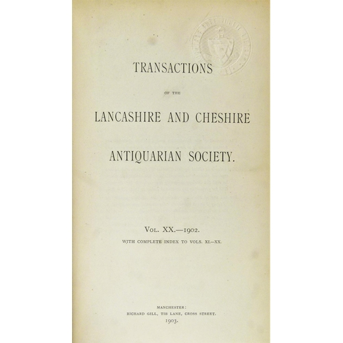 16 - Lancashire and Cheshire Antiquarian Society.- TRANSACTIONS, 60 vol., vols 1 - 61, lacking vol. 60, p...
